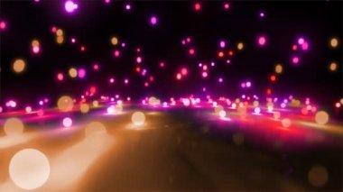Pink color tone light balls falling — Stock Video