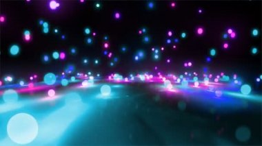 Blue color tone light balls falling — Stock Video