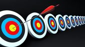 Color targets and arrow black — Stock Photo