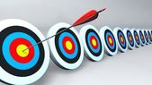 Color targets and arrow white — Stock Photo
