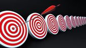 Red targets and arrow black — Stock Photo