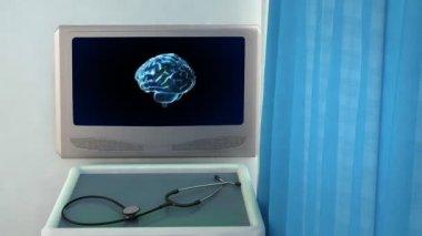 Blue brain rotate medical screen closeup — Stock Video