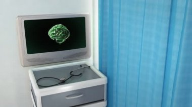 Green brain rotate medical screen — Vídeo stock