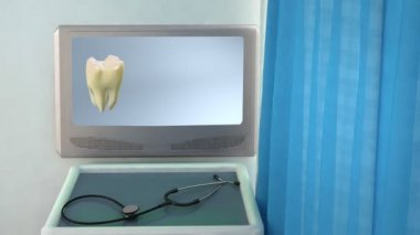 Tooth step be white medical screen closeup — Stock Video