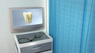 Yellow tooth to white tooth medical screen — Stock Video