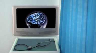 Blue brain zoom into cell medical screen closeup — Stock Video