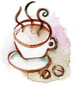 Coffec cup watercolor brown — Stock Photo