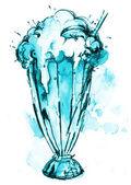 Dibujo acuarela refresco azul — Foto de Stock