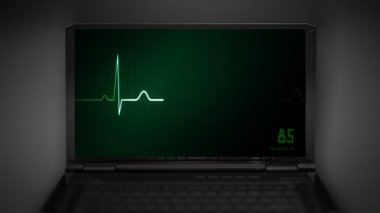 Heart on an EKG monitor green — Stock Video