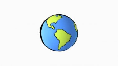 Cartoon earth spinning — Stock Video