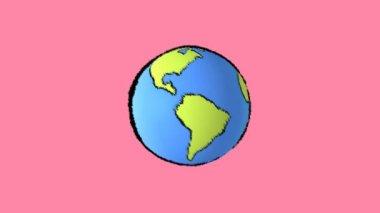 卡通地球旋转 — 图库视频影像