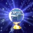 Snow falling in crystal ball for Christmas theme — Stock Video #30410987