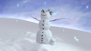 Snowman sky center — Stock Video