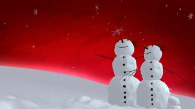 Snowmen red sky — Stock Video