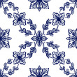 Stock Photo: Classical blue flower graphic for unlimited repeat to larger pat