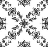 Classical black flower graphic for unlimited repeat to larger pa — Stock Photo