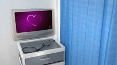 Heart EKG monitor  presenting the love — Stockvideo