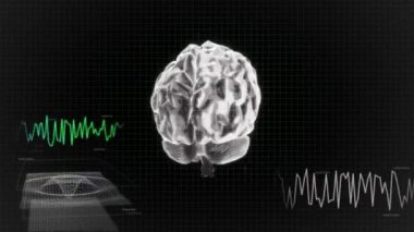 Crystal X-ray Brain diagram of technology — Stock Video