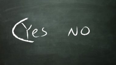 Yes and no concept on blackboard — Stockvideo