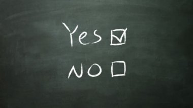 Yes and no concept on blackboard — Stock Video