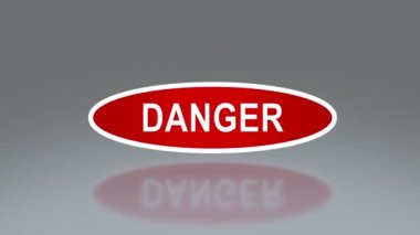 Oval signage of danger — Stock Video