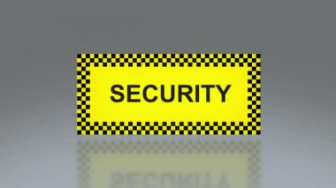 Yellow security signage — Stock Video