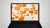 Ноутбук монитор отображения разговор оранжевый — Стоковое фото
