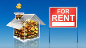 Investment saving money at house for rent sky — Stock Photo