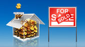 Investment saving money at house for sale sold sky — Stock Photo