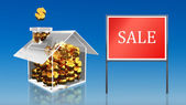 Investment saving money at house sale blue sky — Stock Photo