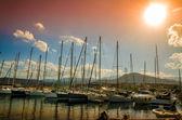 σκάφη στο ηλιοβασίλεμα — Φωτογραφία Αρχείου