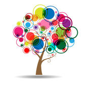 árbol abstracto etiqueta engomada de la etiqueta de la pared — Vector de stock