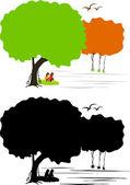 Kalkomania ścienna drzewo — Wektor stockowy