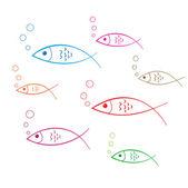 Pesce doodle decalcomania — Vettoriale Stock