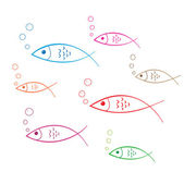 Vissen doodle sticker — Stockvector