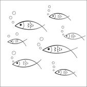Pescado doodle decal — Vector de stock