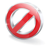3d Glossy Block Disable Denied Vector Icon — Stock Vector