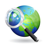 3d Magnifying Glass Search Vector Icon — Stock Vector