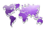 3d Glossy Vector World Map — Stock vektor