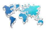 3d Glossy Vector World Map — Vecteur
