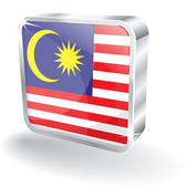 3d Glossy Malaysia Flag Vector Icon — Stock Vector