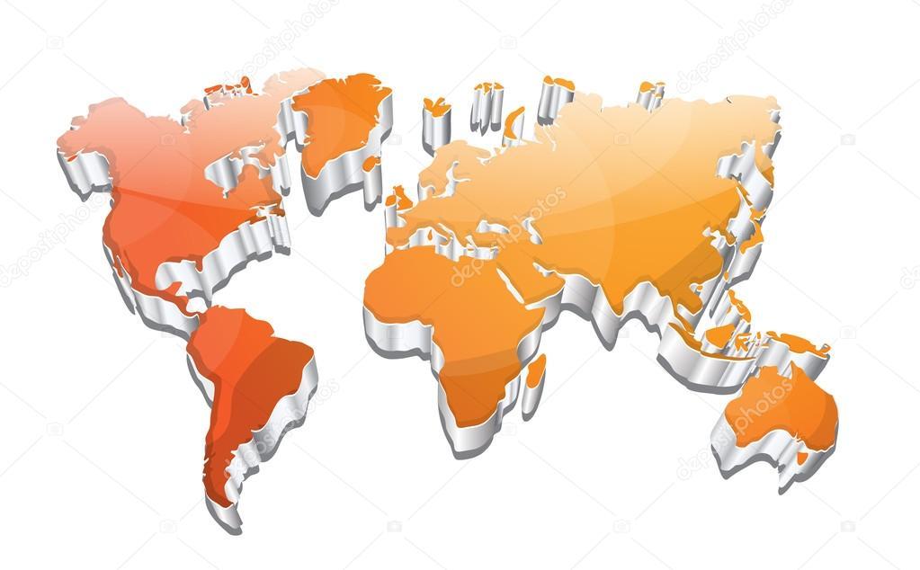3d 立体光泽矢量世界地图设计– 图库插图