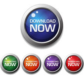 Shiny Glossy Download Now Round Icon Button — Stock vektor