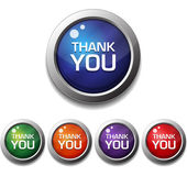 Shiny Glossy Thank You Round Icon Button — Stok Vektör