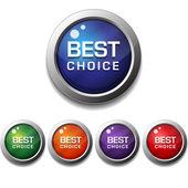 Блестящий глянцевый лучший выбор круглый значок кнопки — Cтоковый вектор