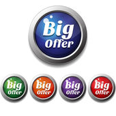 Shiny Glossy Big Offer Round Icon Button — ストックベクタ