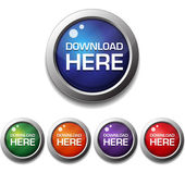 Shiny Glossy Download Here Round Icon Button — Vettoriale Stock