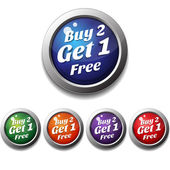 Shiny Glossy Buy 2 Get 1 Free Round Icon Button — Stock Vector