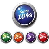 Shiny Glossy Save Round Icon Button — Stock Vector