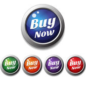 Shiny Glossy Buy Now Round Icon Button — Stock Vector
